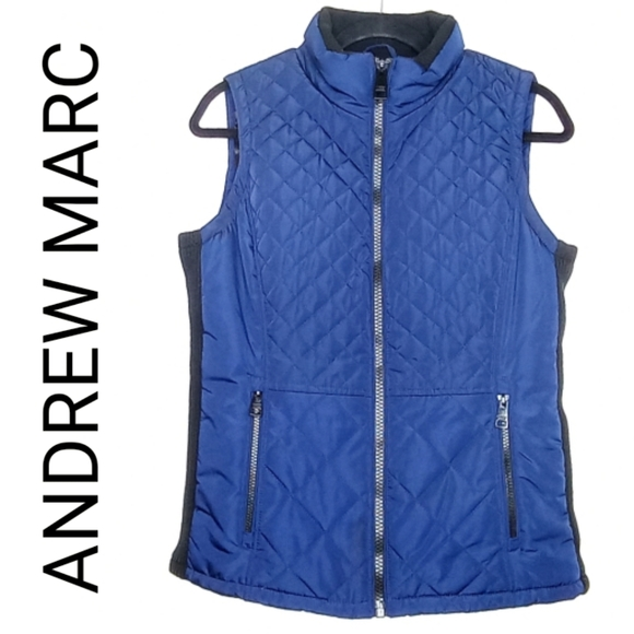 ANDREW MARC QUILTED PUFFER VEST - BLUE & BLACK